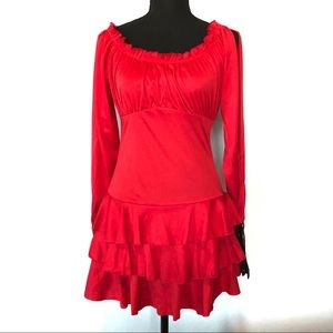 🐝Dreamgirl sexy red ruffled split sleeve dress